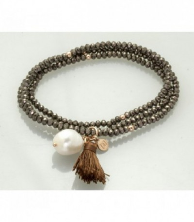 PULSERA PLATA CRISTAL STRASS MARRON-PERL 90021UP