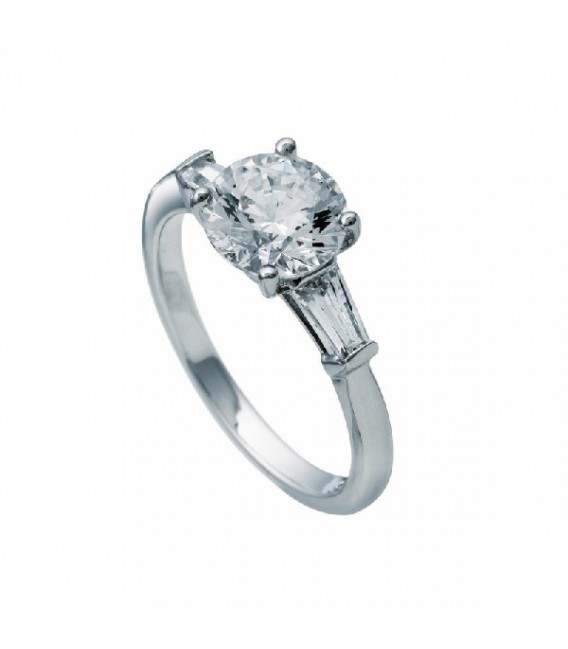 Anillo Diamonfire Con Baguettes Y Circonita Central 8 Mm 6112751082