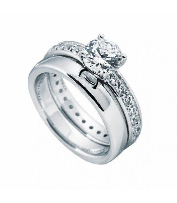 Anillo Diamonfire Doble Con Solitario Central De 7 Mm 6108851082