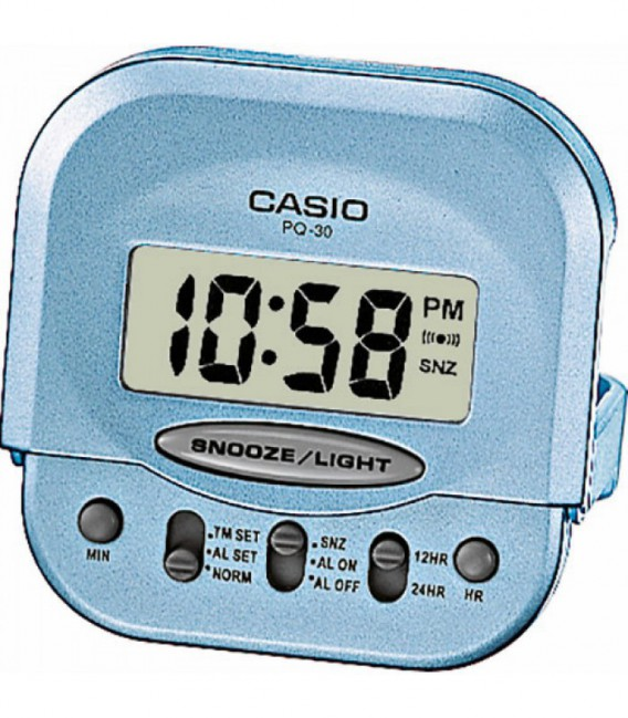 Despertador Mini Casio Digital Aguamarina PQ-30-2EF