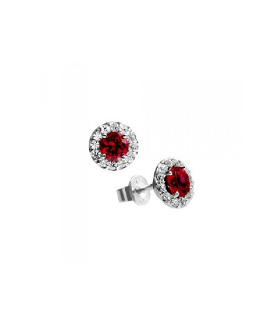 Pendientes Diamonfire Rosetón Y Circonitas Rojas Royal Colour 6215581088