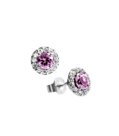 Pendientes Diamonfire Rosetón Y Circonitas Rosas Royal Colour 6215581102