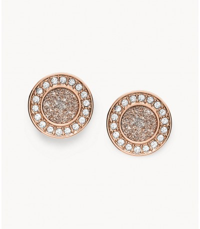 Pendientes Fossil Rose Gold Halo JF03263791