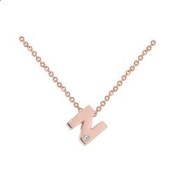 Letra N Diamante Oro Rosa
